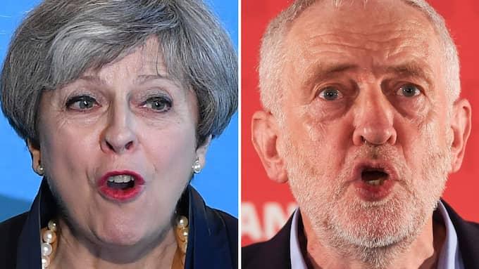 Bara just i bildklippet är Corbyn till höger och May vänster. Foto: NIKLAS HALLE'N / AFP