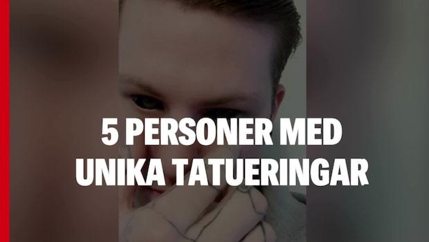 Fem personer med unika tatueringar