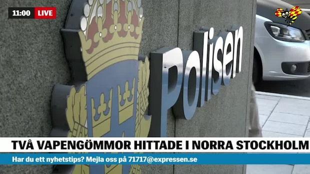 Polisen hittade två vapengömmor under natten till lördag