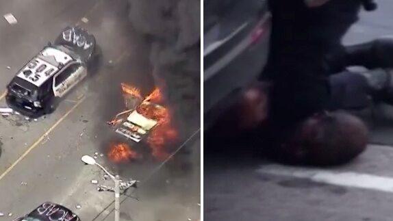Bilderna visar kaoset och upploppen i USA