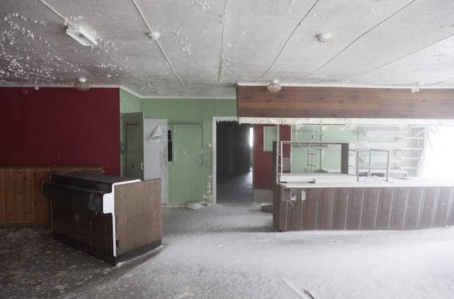 Ett rum med utsikt - stora salongen är numera fyllt med snö.