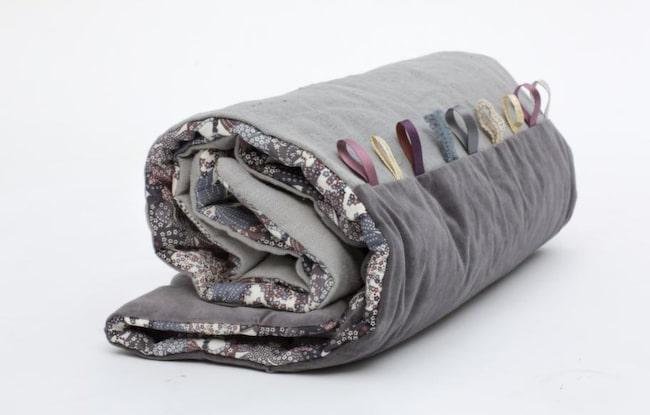 <strong>Saker att lägga i Mini-Kånken: </strong><br>Barntäcke Orpine i linne och bomull dekorerat med fina band att pilla med, cirka 1 000 kronor, stureandfolke.com.