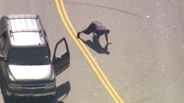 Den berusade bilisten jagades av polisen i snigelfart