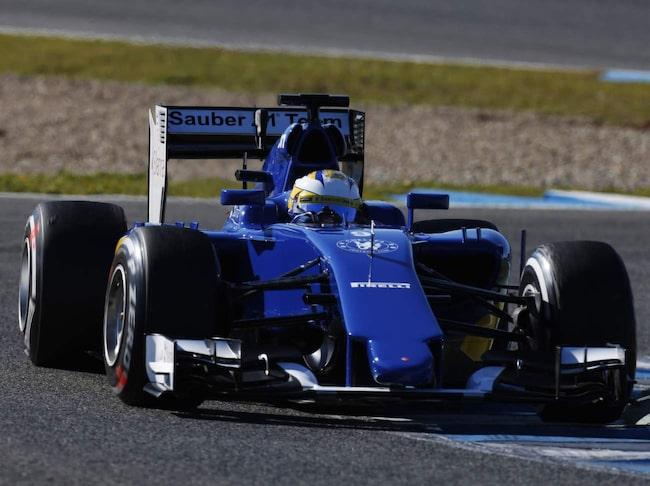 Marcus Ericsson under första försäsongstesterna i Jerez.