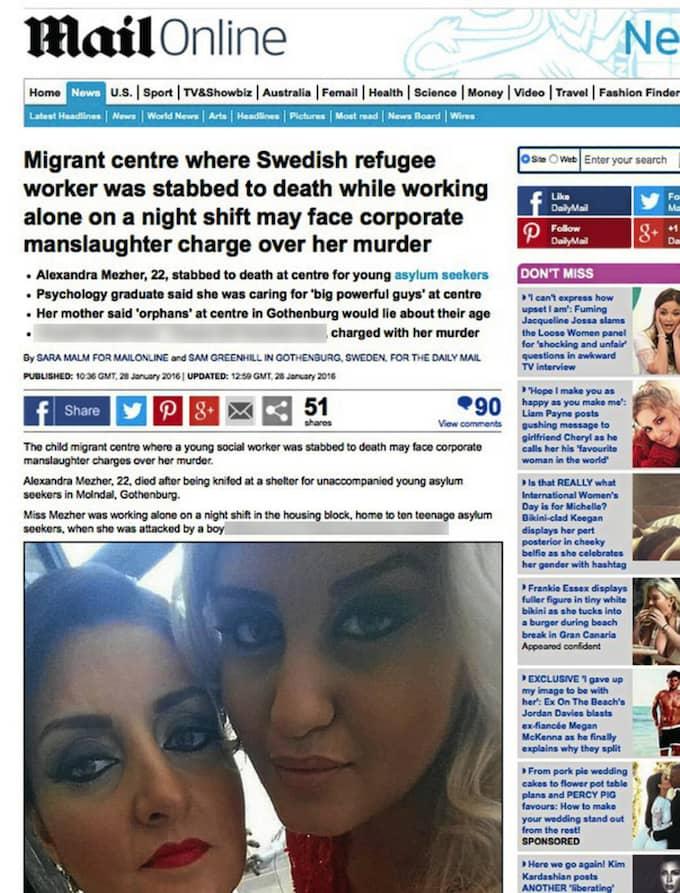 """Rubrik i Daily Mail: """"Svensk socialarbetare knivhöggs i ryggen och låret när hon försökte stoppa bråk mellan två tonåriga migranter: Polis avslöjar chockerande nya detaljer om mordet"""""""