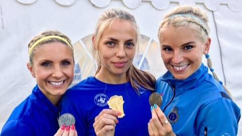 Spårvägens Aina Griksaite (i mitten) vann SM-guld i helgen. Foto: PRIVAT