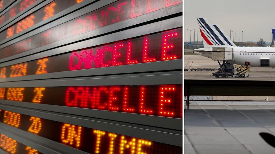 Air France flyg från Arlanda till Paris 12.40 ställdes in