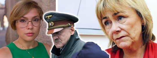 """Centerpartistiska riksdagskandidaten Sofia Arkestål (till vänster) hånade Beatrice Ask (M) efter uttalande om en satir-artikel om marijuana. Arkestål klippte ihop en scen """"Der Untergang"""" som använts flitigt som hån på Youtube. Foto: Montage"""