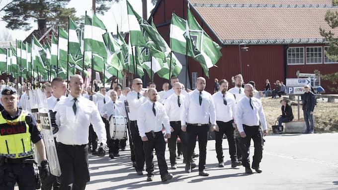 Nordiska motståndsrörelsens demonstration i Falun den första maj 2017. Foto: SVEN LINDWALL