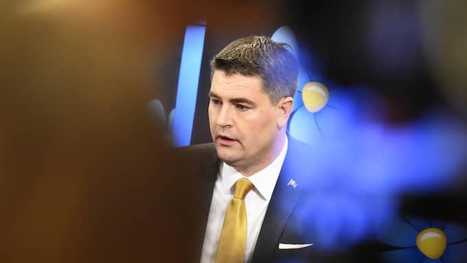 SD:s ekonomiskpolitiske talesperson Oscar Sjöstedt presenterade skuggbudgeten Foto: ALEXANDER LARSSON VIERTH/TT