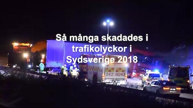 Så många skadades i trafikolyckor i Sydsverige 2018