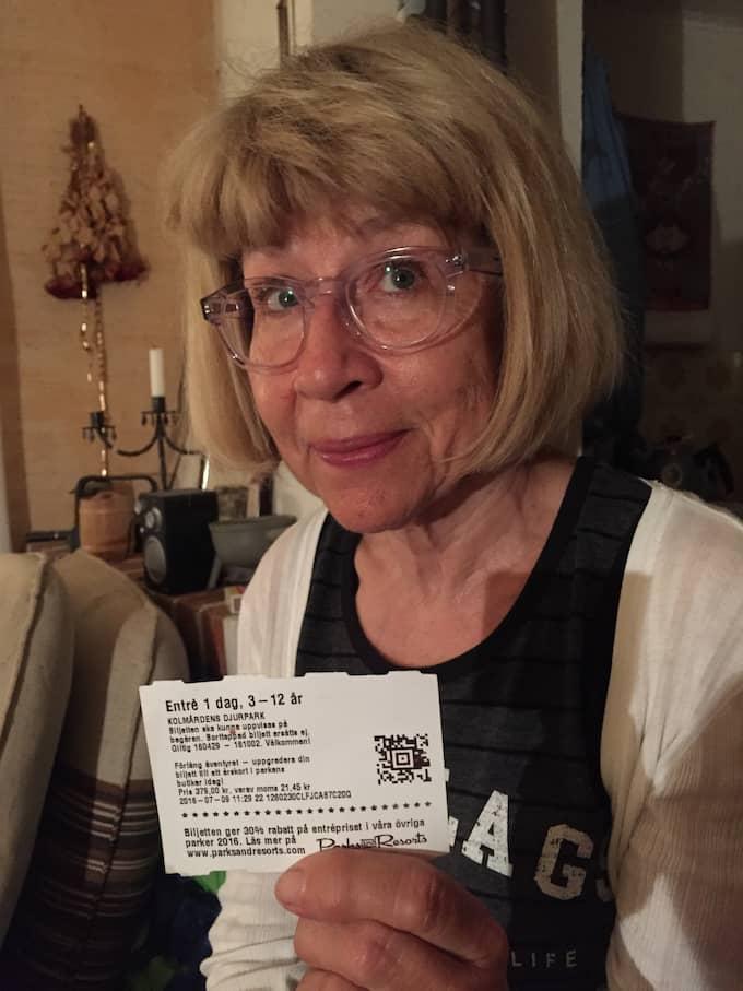 Eva fick en barnbiljett, när hon var på Kålmården. Hon kände sig som tio år. Foto: PRIVAT