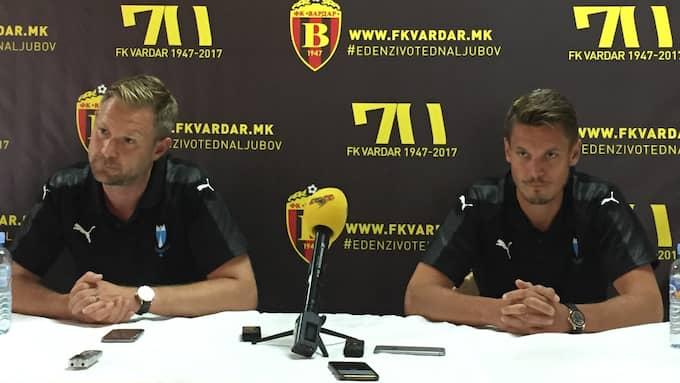 Malmös tränare Magnus Pehrsson och lagkapten Markus Rosenberg höll presskonferens inför returen mot Vardar. Foto: Fredrik Jonsson