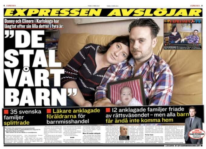 17 mars. Expressen skriver om hur 36 familjer splittrats för att läkare anklagade föräldrarna för att ha misshandlat sitt barn.