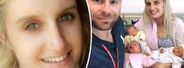 Hannah blev gravid trots  p-stav – födde trillingar