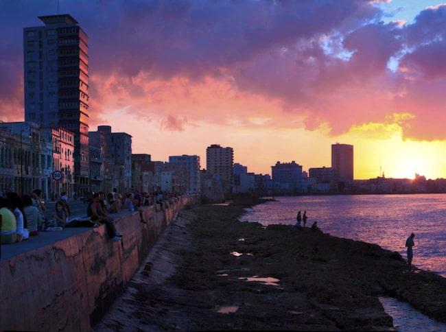 Solnedgång sedd från Malecón.