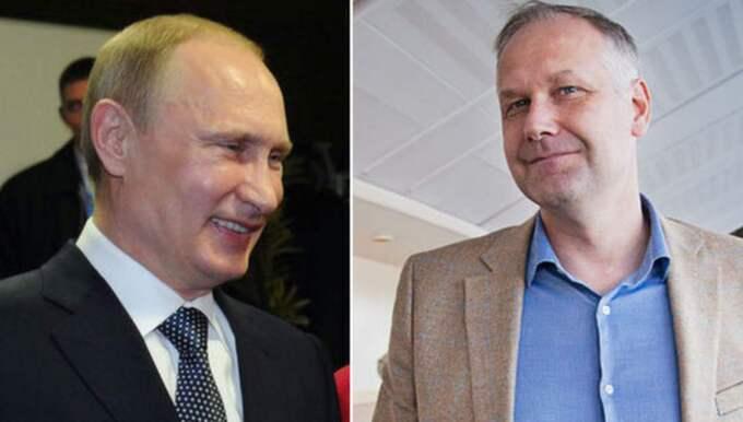 Vänsterpartiets Jonas Sjöstedt drömmer om ett Europa utan EU – en idé som ryske presidenten Vladimir Putin gillar. Foto: AP