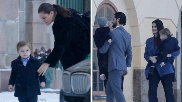 Familjen anläder till Drottningholms slott för att fira Silvia