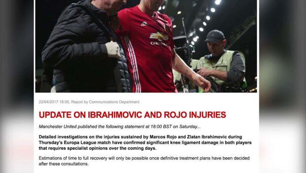 United bekräftar Zlatans skada