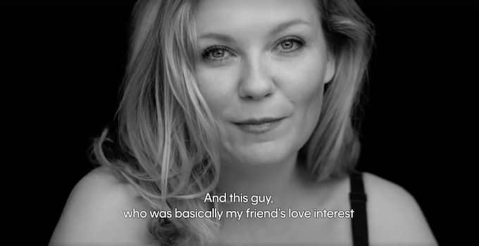 Så här beskriver Kirsten Dunst sin första kyss i Calvin Kleins reklamfilm. Foto: Skärmdump