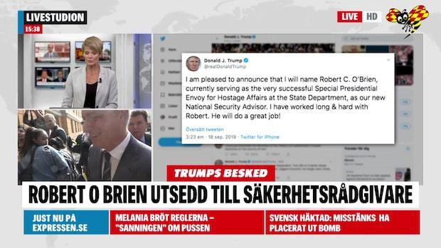 Robert O'Brien utsedd till ny säkerhetsrådgivare