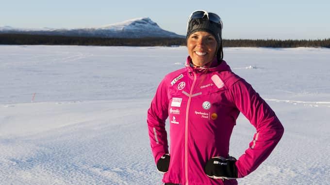 Charlotte Kalla är just nu på träningsläger i Saxnäs. Foto: NILS JAKOBSSON