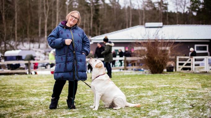 Agneta Pethrus och hunden Konrad. Foto: HENRIK JANSSON / GT/EXPRESSEN