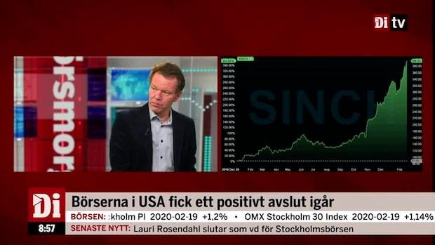 """Petersson om Sinch: """"Helt otrolig utveckling"""""""