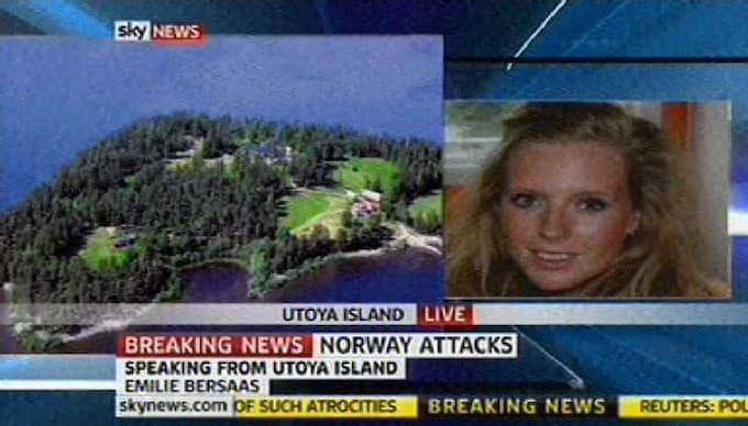 """Emilie Bersaas, 19, gömde sig under en säng samtidigt som hon hörde skottlossningen utanför. """"Det var fasansfullt"""", säger Emilie till Sky News. Foto: Sky News"""