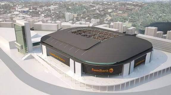 Den här skissen på hur Swedbank Arena kan komma att se ut lades ut på Svenska fotbollförbundets hemsida efter att namnet blivit offentligt. Foto: Svenska fotbollförbundet