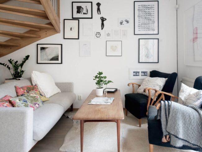 Färgskalan hemma hos Niki vilar på en bas av vitt, grått och svart.