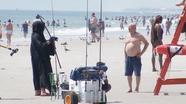 Lieman skrämmer bort strandbesökare