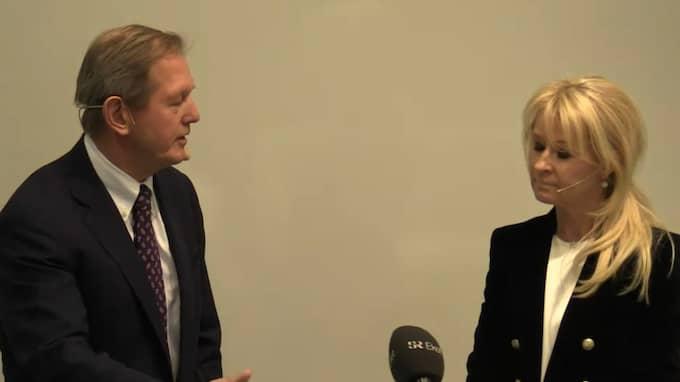 Marcus Wallenberg och Annika Falkengren på presskonferensen i dag.