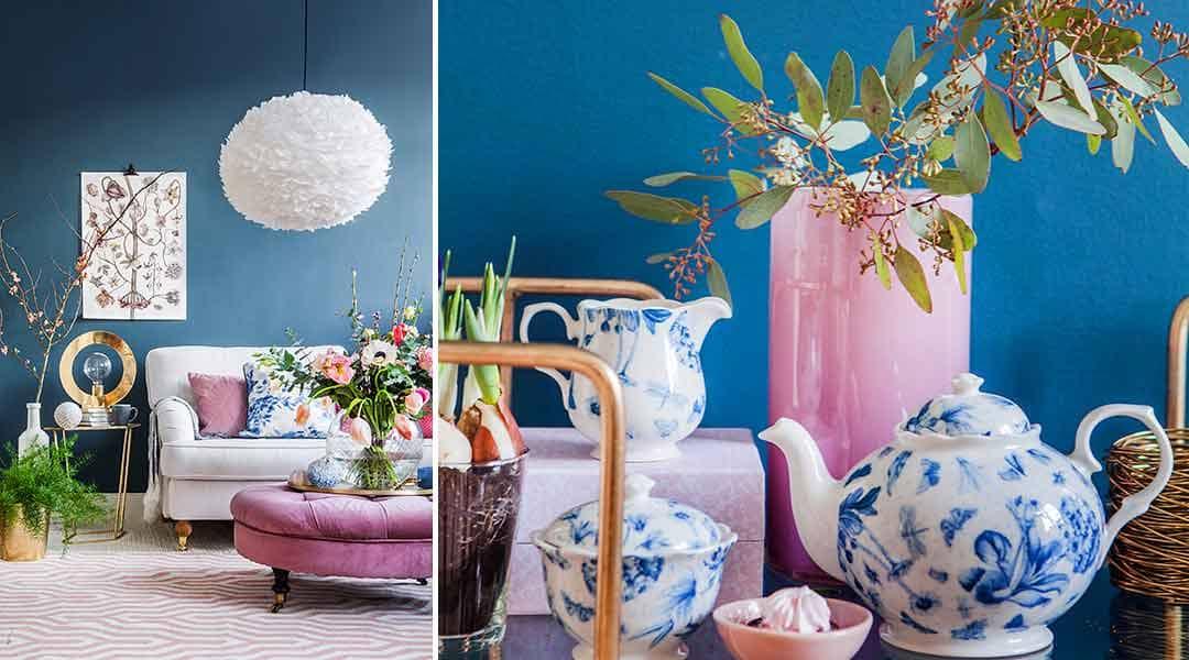 Inred romantiskt och lyxigt i blått och rosa
