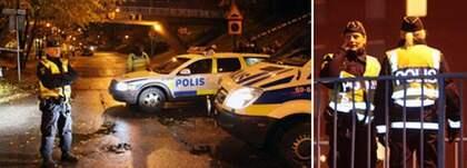 Polisen på plats vid den senaste skjutningen i Malmö där två kvinnor skadades när de sköts genom ett fönster. Foto: Scanpix