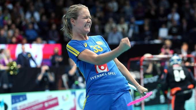 Delgado Johansson firar efter sin superstraff i VM-finalen 2015. Foto: Per Wiklund / BILDBYRÅN