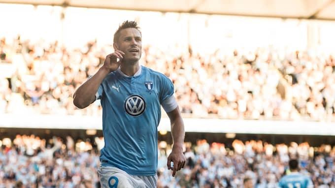 Markus Rosenberg firar sitt 2–1-mål mot IFK Göteborg i Malmö i augusti 2017. Foto: PETTER ARVIDSON / BILDBYRÅN