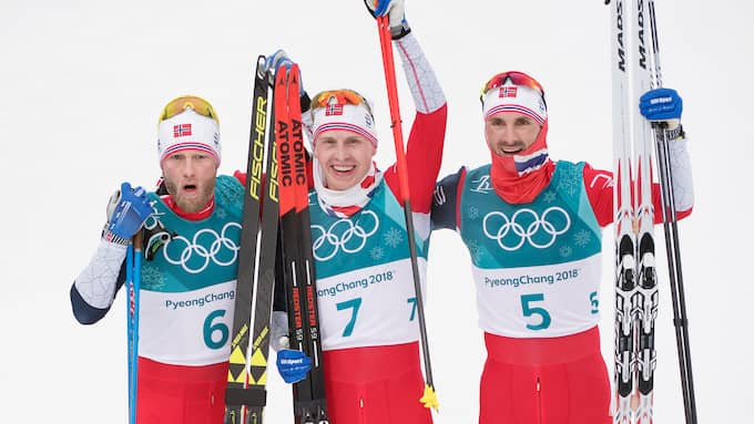 Norge tog en trippel i första distansloppet. Foto: SVEN LINDWALL