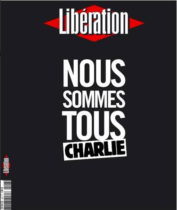 Tidningen Libérations framsida: Vi är alla Charlie.