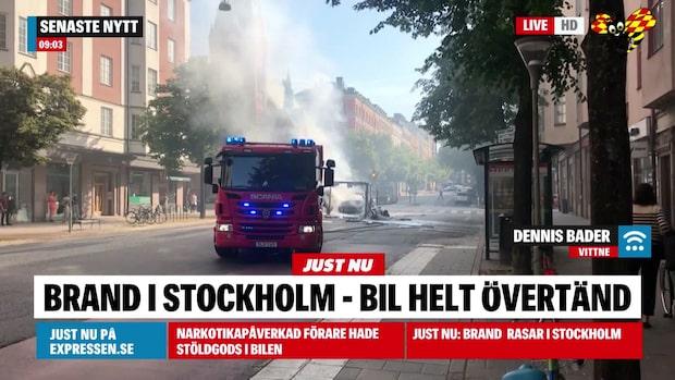 Brand och rökutveckling i centrala Stockholm