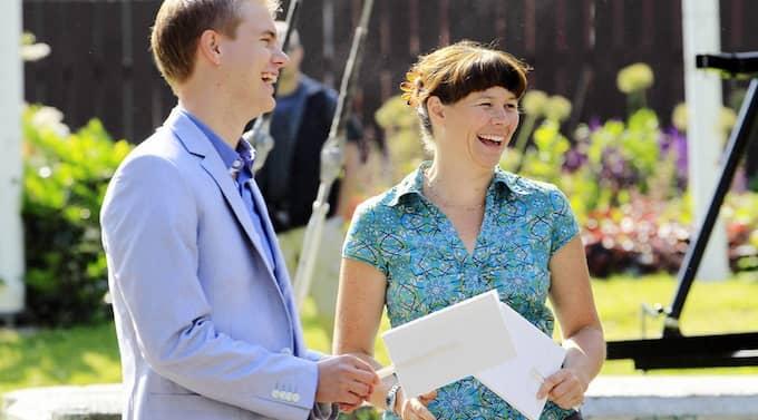 Miljöpartiets nya språkrör Gustav Fridolin och Åsa Romson är på plats i Almedalen på söndagen. Foto: Cornelia Nordström