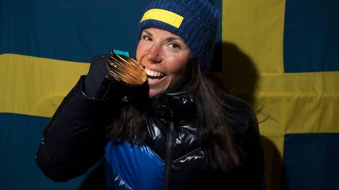 Charlotte Kalla tog OS-guld i skiathlon. Foto: SVEN LINDWALL