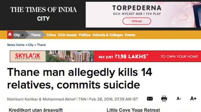 Bland de döda fanns sju barn. Foto: Skärmdump Times of India