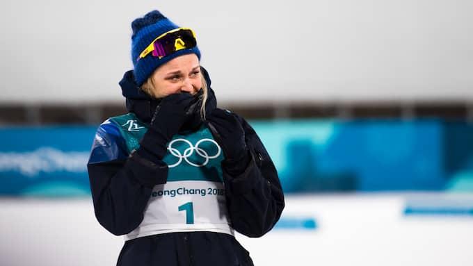 Stina Nilsson efter guldloppet. Foto: CARL SANDIN / BILDBYRÅN