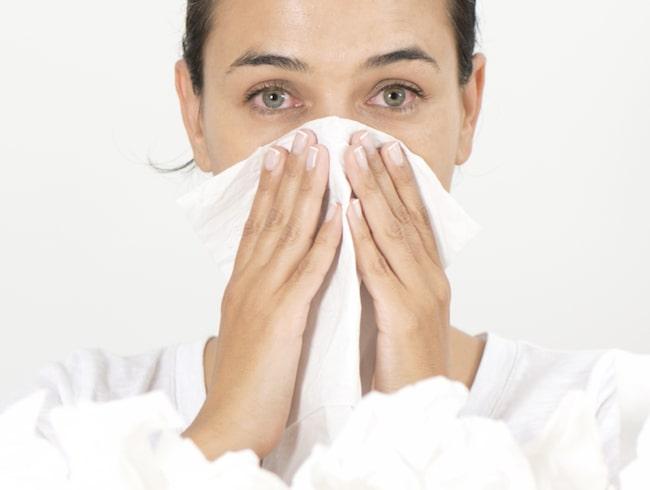 pollenallergi symptom ont i halsen