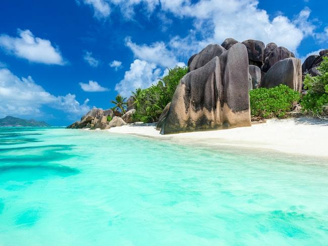 Berömd för sin skönhet - Anse Source d'Argent på ön La Digue på Seychellerna.
