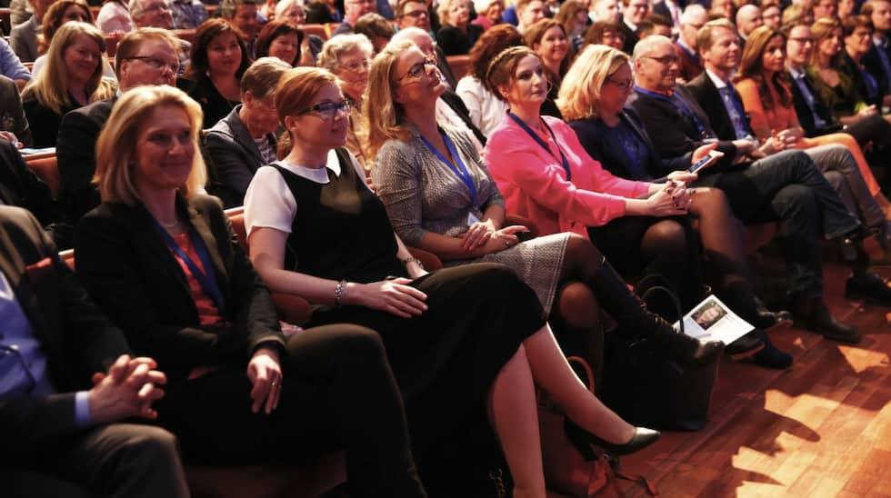Birgitta Ohlsson i mitten, när Liberalerna bytte namn till just Liberalerna från Folkpartiet. Foto: Stefan Jerrevång / TT NYHETSBYRÅN