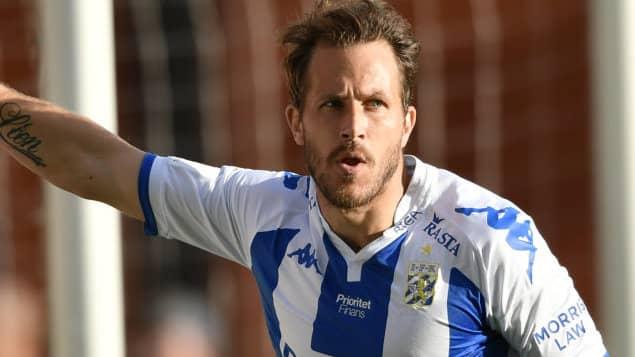 Tobias Hysén gjorde IFK Göteborgs 1-1 mål. Foto: BJÖRN LARSSON ROSVALL/TT / TT NYHETSBYRÅN