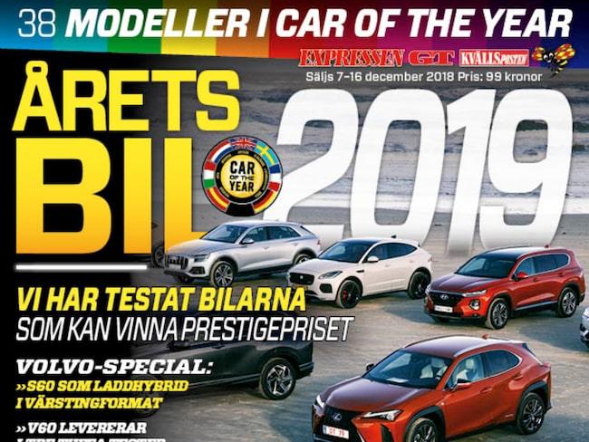 Tidningen Årets bil 2019 säljs i butik 7-16 december.