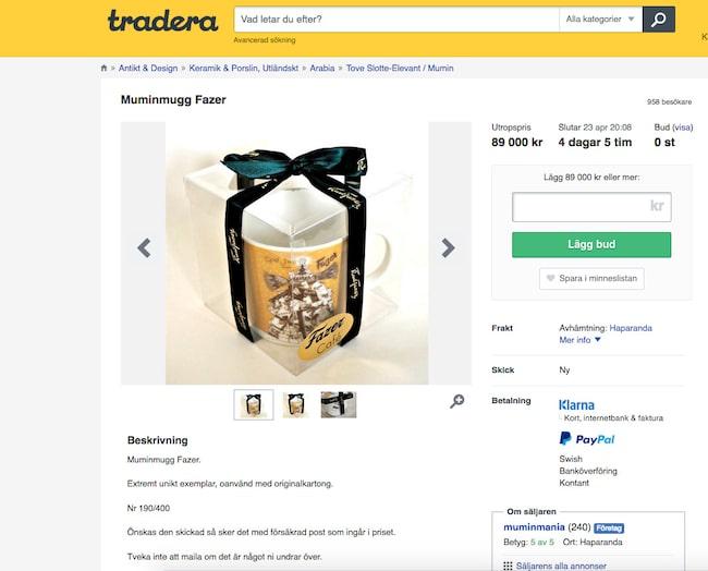 """Om någon köper Daniels Mumin-mugg """"Fazer"""" på Tradera för 89 000 kronor blir det den dyraste Muminmuggen någonsin, enligt Daniel."""